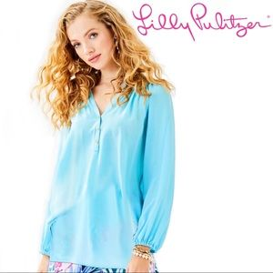 Lilly Pulitzer ELSA SILK TOP Bali Blue Gold Button